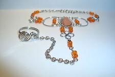 Peruvian Alpaca Silver & Gemstone Slave Bracelet~Orange Jasper~R50~uk seller~