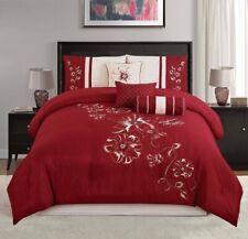 Elegant Embroidered Red Floral 7 pcs Comforter Cal King Queen Comforter Set