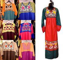 Embroidered Floral Kaftan Cotton Long Dress Egyptian Arabic Abaya Jilbab S M L