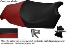BLACK & BURGUNDY CUSTOM FITS TRIUMPH SPRINT ST 1050 05-11 LEATHER SEAT COVER