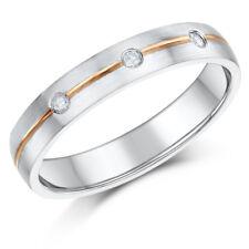 9ct Rose & White Gold diamond Wedding Ring 4 mm Band