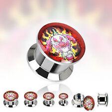 PAIR Steel Red Insane Clown Logo Stash Plugs Gauges Earlets 2g,0g,00g