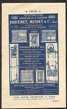 """PARIS (XV°) USINE de MONTE-CHARGE , PERSIENNES """"JAQUEMET , MESNET & Cie"""" en 1913"""