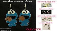 Blue Cookie Monster Earrings *OPTION* Hypoallergenic Pierced OR Clip On Earrings