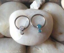 SIREN Forrest Green Septum Ring Opal Cartilage Earring Silver Conch Hoop HelixUK