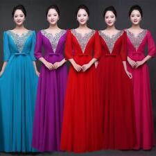 Elegant Women's Chorus Gown Sequins Half sleeve Host Banquet Lady Long Dresses