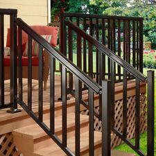 ALUMINUM STAIR HAND AND BASE RAIL 6 Ft Black Durable Deck Porch Balcony Railing