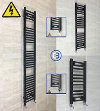 300mm wide Black Designer Electric Heated Towel Rail Radiator Straight Bathroom