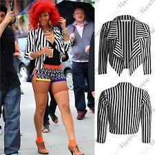 New Womens Black White Striped Cropped Waterfall Short Blazer Casual Jacket Coat
