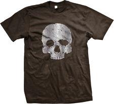 Skull Distressed Skeleton Bones Halloween Head Scary Top Half Part Men's T-Shirt