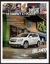 2012 CHEVROLET Orlando Original Print AD - White car photo VUS SUV French Canada