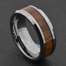 8mm Tungsten Brown Wood Design  Men's Wedding Ring Band 36576