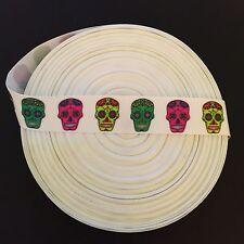 "7/8"" Dia de los Muertos Sugar Skulls Grosgrain Ribbon by the Yard (USA SELLER!)"