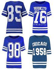 New Womens Plus Size Number Printed Royal Blue Varsity Stripe T-Shirts  12-26