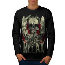 Relax Metal Rock Skull Men Long Sleeve T-shirt NEW   Wellcoda