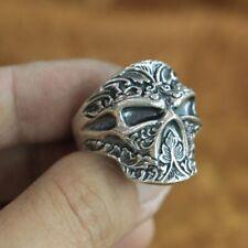 925 Argento Sterling Iron Cross Serpente Serpente Anello Massonico Biker realizzato a mano