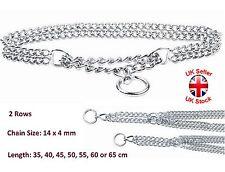 Collar de Cadena Semi Cebador Metal Cromado de entrenamiento de 2 filas de 14 X 4 mm cadena 7 Tamaños