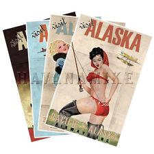 VISIT ALASKA Travel Art Prints SET OF 4 Pinup Poster Alaskan Airlines Vintage