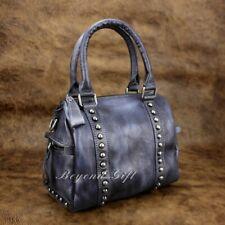 Vintage Genuine Cow Leather Women Shoulder Bag Handmade Studded Handbag HB02D