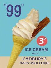 "RETRO METAL PLAQUE: ""99"" 3d ICE CREAM with CADBURY'S Dairy milk Flake sign/ad"