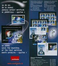 Rumänien 2007 Erdsatelliten,Sputnik 1,Kosmos Mi.6244,Zf.I+II,KB,Block 411,FDC