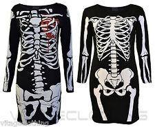 Ladies Women Halloween Skeleton Skull Bones Print Bodycon Tunic Dress Costume
