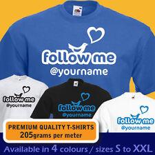 PERSONALISED follow me on TWITTER custom name tweet bird women mens T-shirt gift