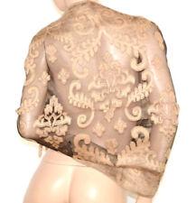 STOLA BEIGE ORO NERA 30%SETA foulard coprispalle donna velata ricamo elegante Z4