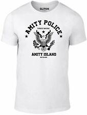 Mens Amity Police T-shirt - Jaws Shark Film 80's Retro Cult Gift Funny TV