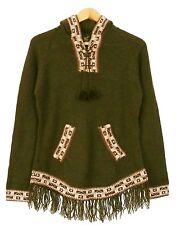 Franges pull vert, taille L, xl, 2xl, alpaga laine, capuche, ethno Incas motif pérou