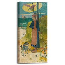 Gauguin ragazza bretone filatura quadro stampa tela dipinto telaio arredo casa