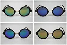 80s Retro round fashion Hippy Hipster sunglasses vintage Mirror Lens UK Stock