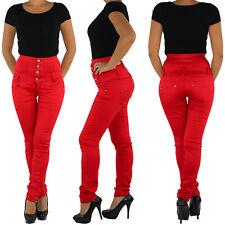 Damen Jeans Röhrenjeans Stretchjeans Hochschnitt Corsagenjeans Hose Rot Y2111