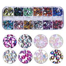 AB Color Nail Art Rhinestone Marquise Opal Heart Flat Bottom Manicure 3D Decors