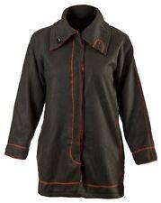 Fleece Jacke - Gr. 42 44 46 48 50 52 54 56 - schwarz/rot - Blouson - Teddyfell