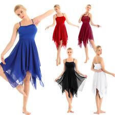 Women Adult Asymmetric Chiffon Dance Costumes Modern Contemporary Ballroom Dress