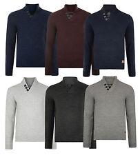 Threadbare New Men's Button V Neck Jumper Knitted Wool Blend Pullover Sweater