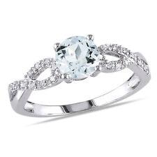 10k White Gold Aquamarine and 1/10 ct TDW Diamond Ring G-H I1-I2