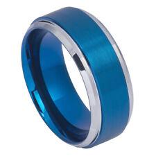 9MM Tungsten Carbide Wedding Band Beveled Edge High Polish Blue Tone Ring