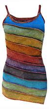 Womens Stonewashed Boho Colorful Summer Rainbow Sidecut Nepalese Strap Dress/Top