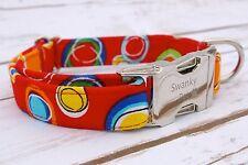 Designer Dog Puppy Collar - All SIzes - Red Circles Print