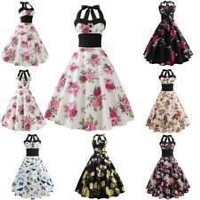 Printing halter Dress vintage Retro women Sleeveless Swing Dresses Evening Party