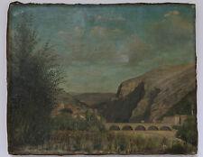 VUE D'ANDUZE PEINTURE XIXème attribuée à PAUL FREDERIC LEO COULON