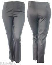 Ladies 14 - 24 Shiny Grey Stretch Trouser Straight Leg 29 Inch Inside Leg *LICK*