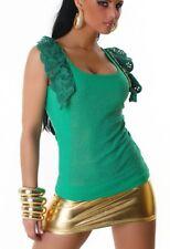 Sexy Miss señora camisa glamour top pedrería cadena volantes 34/36/38 freesize verde
