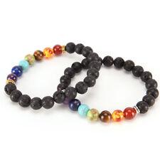 7 Chakra Healing Balance Beaded Bracelet Lava Yoga Reiki Prayer Stone Gifts Pop*