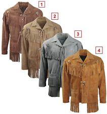 Mens Western en cuir et daim usure NATIVE USA cowboy frange vintage coat