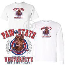Red Doberman Pinscher Paw State University Short / Long Sleeve White T Shirt
