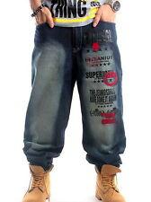Hombre AKA Cadera De Jeans Hop Vaquero Ancho Holgado Pantalones Streetwear 30-46