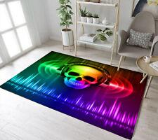 Skull In Headphones Anti-Slip Area Rugs Soft Carpet Disco Background Decor